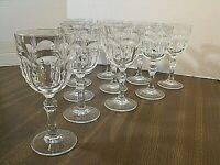 11~VINTAGE~ ELEGANT~ CRYSTAL~ETCHED~ CUT~STEMWARE~6 OZ. WINE / CHAMPAGNE GLASSES