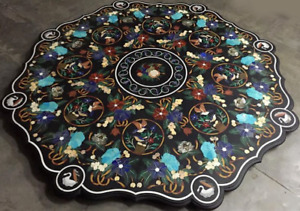 "42"" marble black Table semi precious multi stones handmade art room decor"