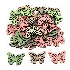 24x Streuartikel Holz Schmetterling 3,5cm x 3cm D 2mm// natur+grün+rosa