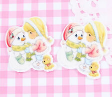 5 x Anime Snowman & Little Girl Cabochon Embellishments Kawaii DIY Craft Decoden