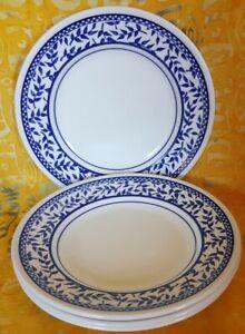Churchill England Blue Leaf Leaves border Side Plates Set 4 80s Vintage