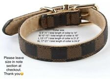 Brown Checkered High Quality Luxury Dog or Cat Pet collar ONLY