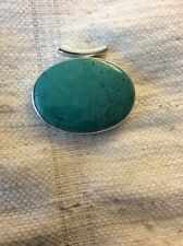 """Tibetan Turquoise Pendant.925 Silver.38 Gram.Oval 2""""by 1.5""""."""