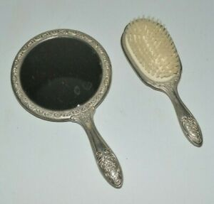 Vintage Silver Plated Round Hand Mirror & Oval Nylon Bristle Brush Roses Flowers