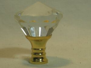 multi faceted crystal finial topper pull handle ? ornate glass & threaded metal