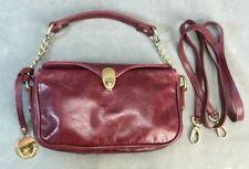 Laura Di Maggio Milan Italian Leather Burgundy Handbag w/ Gold Chain Accents