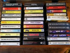 33 Personal cassette tape collection of pre recorded tapes + 1970s storage box