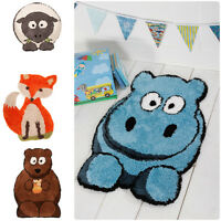 Childrens Kids Animal Orange Fox, Brown Bear, Blue Hippo, Sheep Nursery Rug