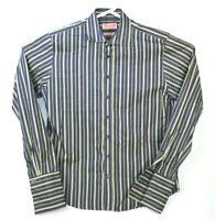 Thomas Pink Blue/Green Striped Slim Fit Men's French Cuff Cotton Dress Shirt 16