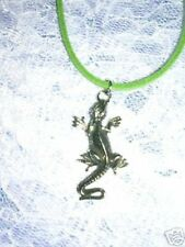 """New Exotic Iguana / Lizard Family Usa Cast Pewter Pendant 22"""" Green Necklace"""