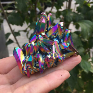 Natural Rainbow Aura Titanium Quartz Crystal Cluster Specimen Healing Stone