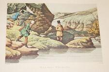 GRAVURE ANGLAISE SALMON FISHING PECHE AU SAUMON ALKEN CLARK