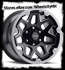 20 x9 inch gloss black milled Vision 416 Se7en wheels Chevy Silverado 6x5.5 +12