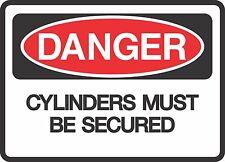 "DANGER CYLINDERS SECURED  (5 Pack) 3.5"" x 5"" Label Sticker Safety Decal Warning"