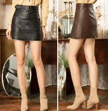 Women High Waist Vintage Leather Casual Retro A Line Mini Pencil Skirt With Belt