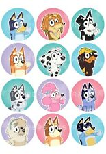 12 x Edible Cupcake Toppers - Wafer - Bluey #1 - Birthday Party Decoration