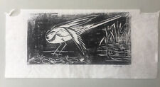 YOMA Pencil signed woodcut of a Water bird.  On Japan Paper.