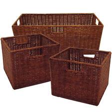 Wicker Rattan Storage Basket Set Box Large Small Woven Bin Cube Room Decor 3Pc