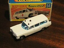 Vintage Matchbox Cadillac ambulance No 54 with box Superfast England