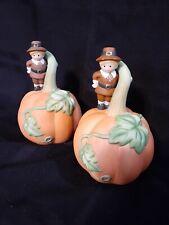 2 Thanksgiving Pumpkin Bells Vintage Avon 1990 Giving Thanks Pilgrim Table Decor