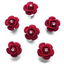 6 épingles spirales twister cheveux mariage fleur rouge velours cristal blanc