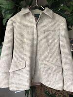 LRL Women's Grey White Full Zip Jacket Blazer 8P Petite Ralph Lauren 100% Wool