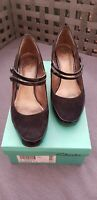 🔥 CLARKS ALPINE GOLD Black Suede Patent Leather Double Strap Tango Shoes UK7.5
