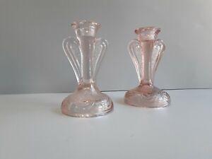 Art deco bagley pink glass candlesticks.