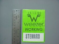 Weezer satin cloth backstage pass green Rectangle February 11, 2002 !