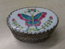 Oval Butterfly Trinket Box with Porcelain Insert and Mirror