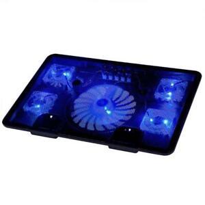 Laptop Cooling Pad 10-17 Cooler Pad Chill Mat 5 Quiet Fans LED Lights  2 USB