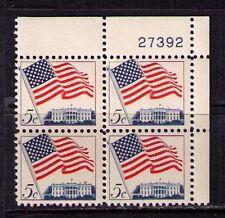 New listing Us Usa Sc# 1208 Mnh Fvf Plate # Block Flag ove White House Washington Dc