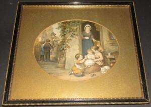Le Blond Elliot The Cherry Seller print rare original 1866 gold mount frame
