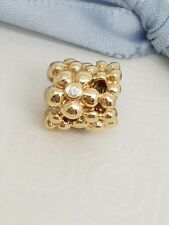 Authentic Pandora Solid 14ct 14k Gold Diamond Daisy Charm -750344D