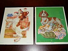 Vintage Playskool Board Puzzles Cardboard Framed Toys Puppies Dogs NICE! 80-11b