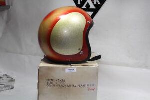 Vintage Metalflake 3/4 helmet size L Red & Gold buco shoei Harley Honda EPS20126
