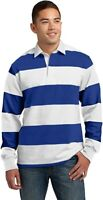 Sport Tek Men's Long Sleeve Striped Rugby Polo Shirt, White/Royal Blue, Small