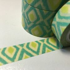 WASHI TAPE LEMON & LIME TRIBAL 15MM WIDE X 10MTR ROLL SCRAP CRAFT WRAP PLAN