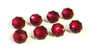 """Matching Set of 8 Vintage Deep Red Faceted Crystal Buttons 1 /2"""""""
