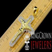 Pure Italian Silver 10K Yellow Gold Finish Simu Diamond Holy Jesus Cross Pendant