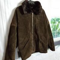 Jones New York Sport Women's Jacket Size S Zip-Up Genuine Leather Dark Brown