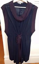 LISA HO  Sheer Navy Eggplant Trim Silk Tie Waist Drape Cowl Neck Dress 10