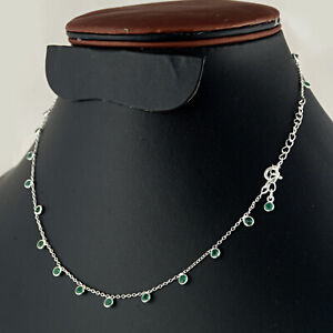 Beautiful 925 Sterling silver Emerald rounds stone necklace for gift