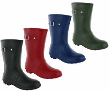 Short 3/4 Length Lightweight Wellingtons Womens Wellies Buckle Boots UK 3-8