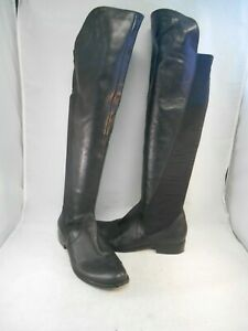 CORSO COMO Larissa Black Leather Over the Knee Tall Boots Stretch Panel Sz 8 M