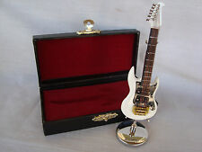"""WHITE Electric Guitar Miniature Wood 4"""" L W/Stand & Case Great MUSIC Gift NEW"""