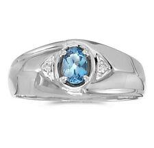 Mens Genuine Blue Topaz and Diamond Ring 10K White Gold
