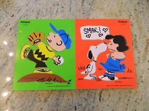 2 Vintage Playskool Peanuts Wooden Puzzles - Charlie Brown, Lucy & Snoopy