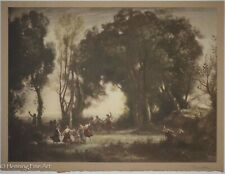 """Antique Corot Lithograph """"Dance of Nymphs"""" Signed & Titled in Pencil, Nice!"""