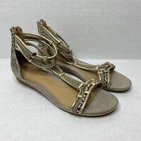 Aldo Womens US 7.5 Gold Beige Faux Snakeskin Lugnola Back Zip Gladiator Sandals